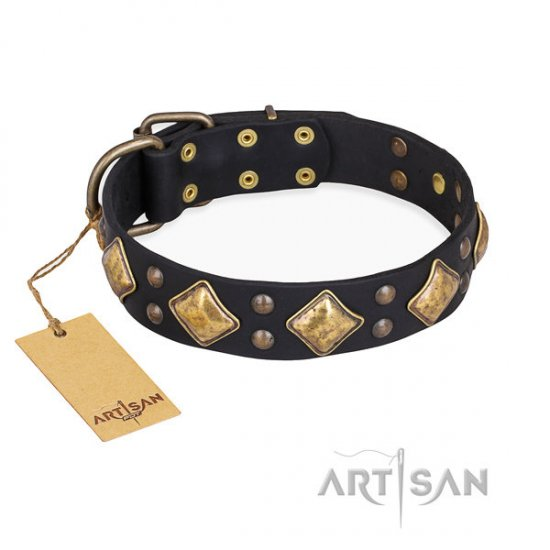 "Black Leather Dog Collar ""Fancy-Schmancy"" by FDT Artisan"