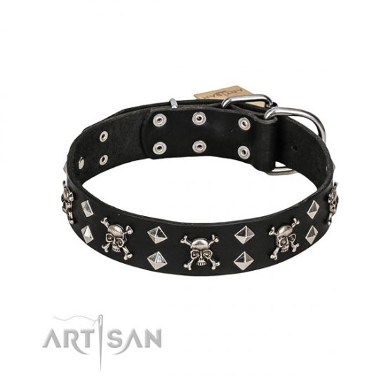 "Artisan Dog Collar ""Fancy Rock-n-Roll Style"" Skulls, Studs"