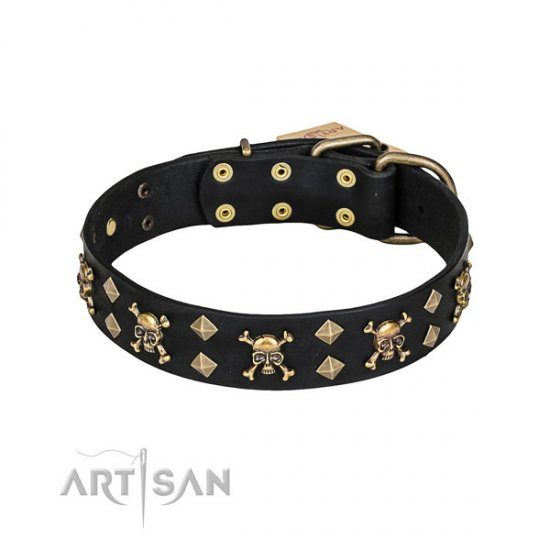 "Artisan Dog Collar ""Jolly Roger"", Leather with Skulls and Studs"