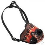 Handmade Leather Dog Muzzle with Flames Painting for All Breeds