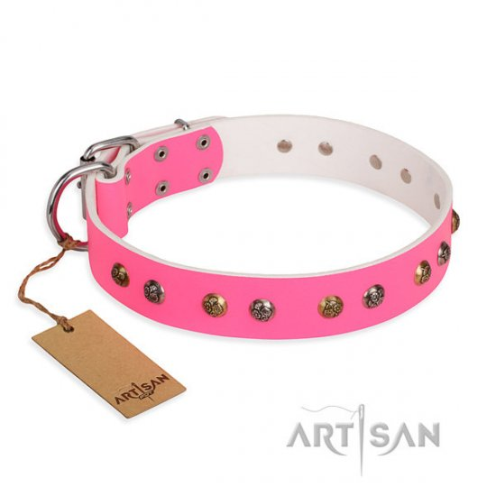"Female Dog Collar Pink Studded Leather ""Sheer Love"" FDT Artisan"