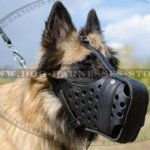 Tervuren Muzzle for Attack Training, Strong Leather