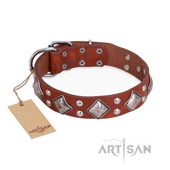 "Artisan Leather Dog Collar of Natural Color ""Magic Squares"""