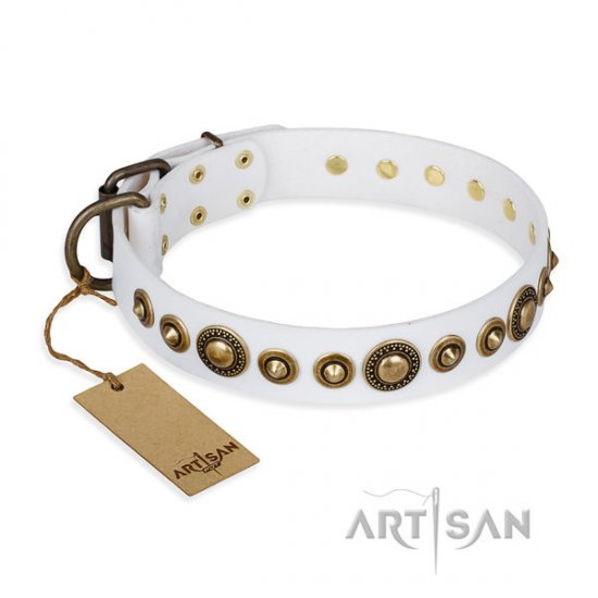 "White Leather Dog Collar FDT Artisan ""Swirl of Fashion"""