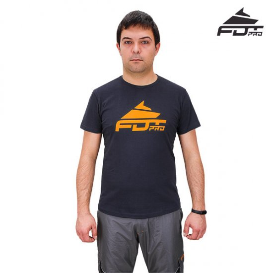 "Dog Training T-Shirt ""Pro Fit"" Dark Grey Quality Cotton FDT Pro"