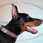 "Handmade Dog Collar with ""Barbed Wire"" Ornament for Doberman"