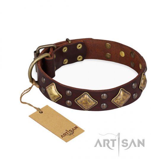"Brown Leather Dog Collar ""Golden Square"" with Rhombs FDT Artisan"