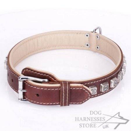 "Soft Brown Leather Dog Collar ""Cube"" Nappa Padded"