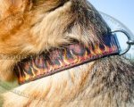 Handmade Dog Collar with Flames for German Shepherd Unique Style