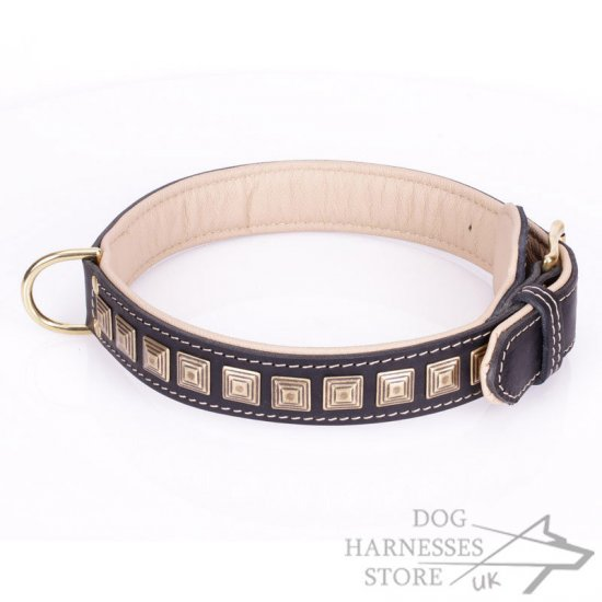 Wide Black Leather Dog Collar