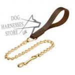 Chain Dog Lead with Leather Handle, UK
