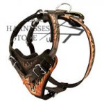 "Handmade Dog Harness Padded with ""Flames"", Natural Leather"