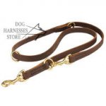 Brown Leather Dog Lead for Training, Walking, Tracking