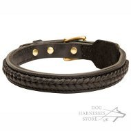 Leather Dog Collar with Handmade Braid for Walking and Training