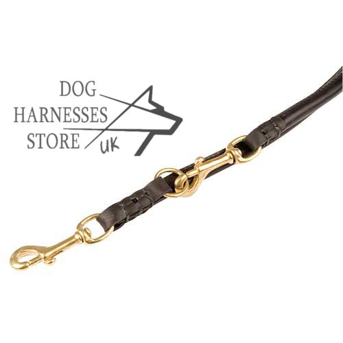 Leather round dog lead