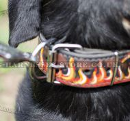 "Handmade Dog Collar with ""Flame"" Ornament for Swiss Mountain Dog"