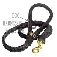 Black Leather Braided Dog Leash, Dog Lead in Elegant Style