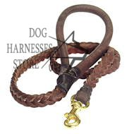 Braided Leather Dog Lead, Handmade Leash for Walks