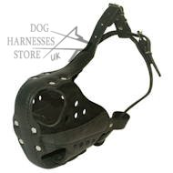 New hard leather muzzle for training work, optimum ventilation