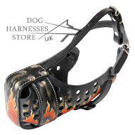 "Designer Dog Muzzle of Genuine Leather with ""Flame"" Painting"