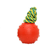 Rubber Dog Ball on Nylon Rope, Indestructible Canine Toy, 6 cm