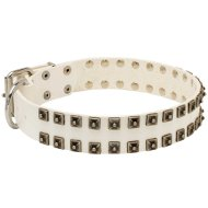 Unusual Dog Collar in White Leather with Square Studs