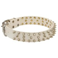 White Spiked Dog Collar of Leather for Walking, Rock Style Barbs