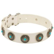 White Leather Dog Collar with Light-Blue Stones, Vintage Style