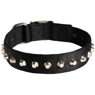 Wide Dog Collar Nylon, Row of Shiny Nickel-Plated Pyramids