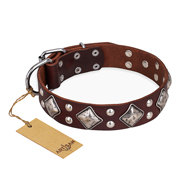 "Brown Leather Dog Collar Artisan ""King of Grace"" with Diamonds"