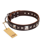"Brown Leather Dog Collar FDT Artisan ""Perfect Impression"""