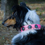 Pink Girly Dog Collar with Sky-Blue Stones for Glamorous Collie