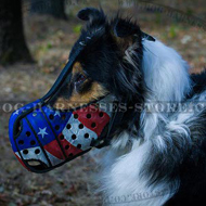 Collie Muzzle USA Patriotic Style for Comfy Walking and Training