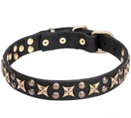 Cosmic Dog Collar with Old Bronze Plated Planets and Stars