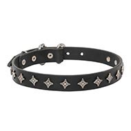 """Northern Stars"" Narrow Width Dog Collar of Genuine Leather"