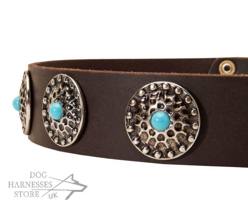 New Leather Dog Collar With Stones