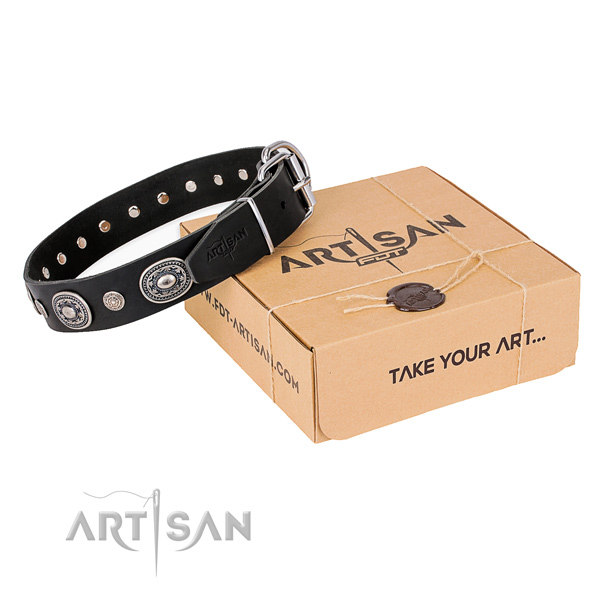 Black Leather Dog Collars UK