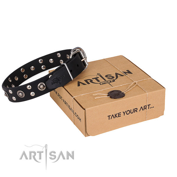 Black Leather Studded Dog Collars