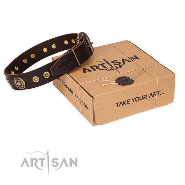 Brown Leather Dog Collars UK