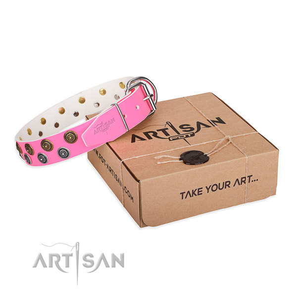 Designer Pink Leather Dog Collar