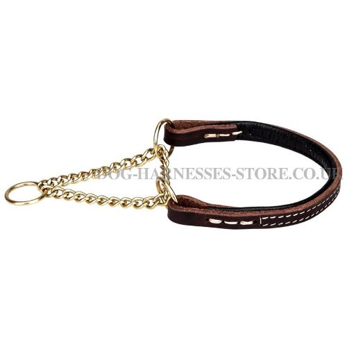 Half Check Dog Collars Leather