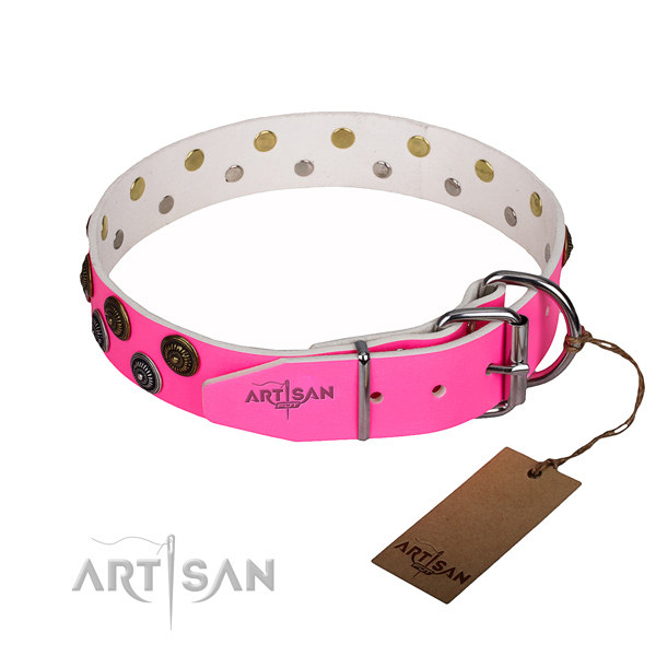 Hot Pink Leather Dog Collar