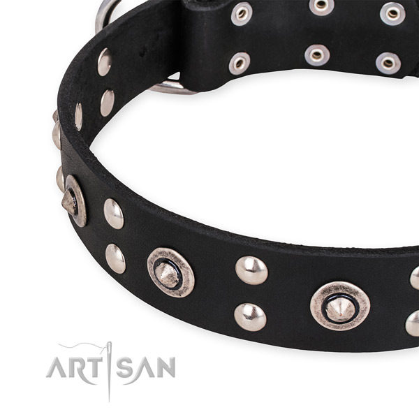 Luxury Black Leather Dog Collar
