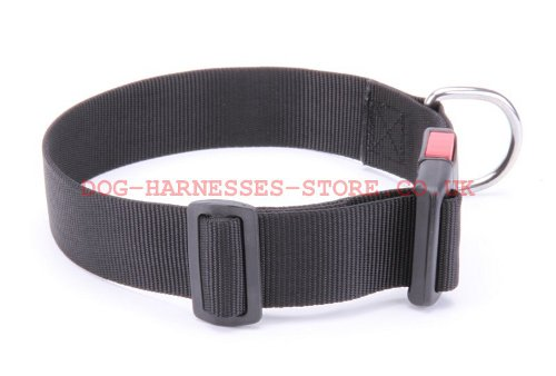 Nylon Dog Collar Adjustable Size and Quick-Release Plastic Buckle