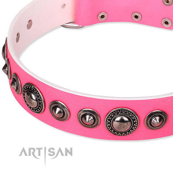 Pink Leather Dog Collar UK