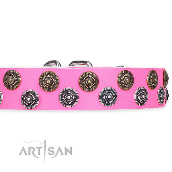 Pink Leather Dog Collar with Studs