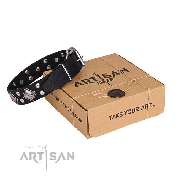 Soft Black Leather Dog Collar
