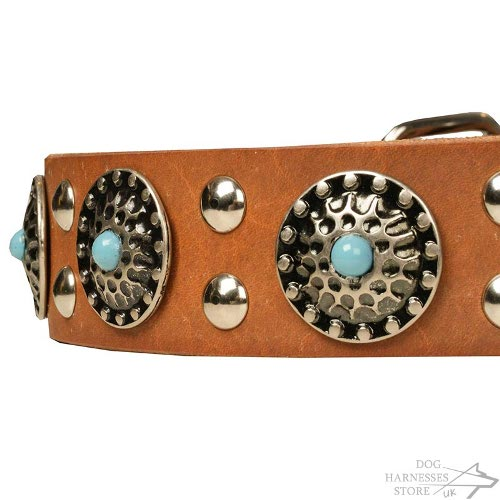 Leather Stone Dog Collars