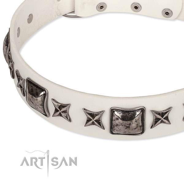 White Leather Dog Collar UK