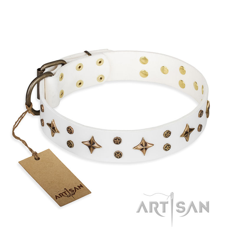 Artisan Dog Collar In White Leather With Stars 163 54 50